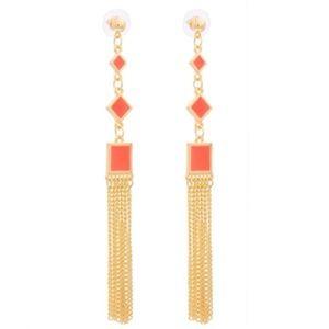 Jewelry - Orange Geo Square Tassel Earrings NWOT